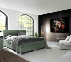 Beddenplein Boxspring Verona - Inclusief 9-zones pocketveringmatras en traagschuimtopper - Olijfgroen - 180x200 cm