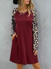 Marineblauwe YOINS Leopard Print Patchwork Dress