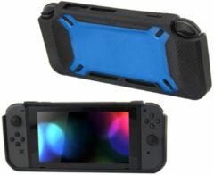 Merkloos / Sans marque Hard Case Cover voor Nintendo Switch Beschermhoes - Rubber Touch Zwart -Blauw