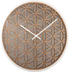 NeXtime Bella Mirror - Klok - Stil Uurwerk - Spiegel/Hout - Rond - Ø50 cm - Wit