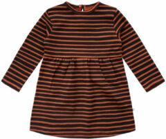 Your wishes gestreepte baby a lijn jurk met biologisch katoen bruin zwart