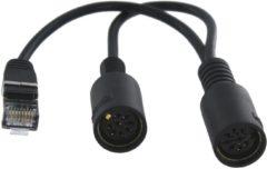 Cavus RJ45 naar 2x 8-pins DIN Powerlink PL8 splitter voor B&O / zwart - 0,15 meter