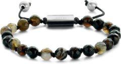 Donkerbruine Frank 1967 Beads 7FB 0370 Natuurstenen armband - One-size - 6 mm - Donker Bruin