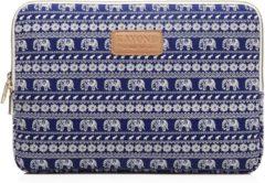Blauwe Kayond Laptop Sleeve met olifanten tot 13 inch Blauw/Wit