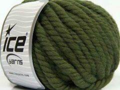 Groene Ice yarns Wol breien met breinaalden maat 10 – 12 mm. – dikke khaki kleurige breiwol kopen pakket van 3 bollen garen 100 gram per bol 100% wol – breigaren van een fijne kwaliteit