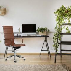 Lifa-Living LIFA LIVING Bureaustoel - Modern - Donkerbruin - PU Leer - Ergonomisch - Verstelbaar