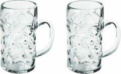 Transparante Santex 2x Bierpullen/bierglazen halve liter/50 cl/500 ml van onbreekbaar kunststof - 0,5 liter pullen - Bierfeest/Oktoberfest pul - Bierpul glazen – herbruikbare glazen