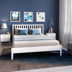 Autre PARKER Hedendaags volwassen bed in wit gelakt massief vurenhout - B 160 x L 200 cm