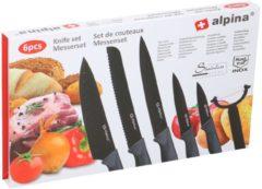 Alpina Kitchen & Home Alpina - 6-Delige luxe messenset - Santoku-mes, broodmes, vleesmes, universeel mes, schilmes en dunschiller - rvs - antikleeflaag - zwart