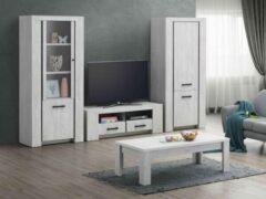 Zwarte Belfurn-TV-wand Elvis in een decor van witte eik bestaande uit Tv-meubel met kolom glas en kolom volle deur