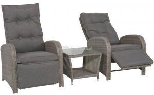 Afbeelding van Grijze Outdoor Living Loungeset Duoset Melia 2 verstelbare stoelen + gratis tafel - Balkonset