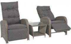 Grijze Outdoor Living Loungeset Duoset Melia 2 verstelbare stoelen + gratis tafel - Balkonset