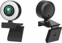Zwarte Webcam eurodeals UHD1080P 360° Round circle LED light