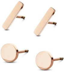 CO88 Collection Sense 8CE 70017 Stalen Oorknoppen - Set van 2 Paar - Staafjes 10x2 mm en Rondjes 6 mm - Rosékleurig