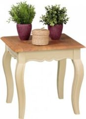 Wohnling WOHNLING Vintage Beistelltisch ANGORI weiß massiv 50 x 50 cm | Kleiner Couchtisch aus Mango Massivholz | Opium Wohnzimmertisch