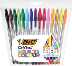 Bic balpen Cristal Multicolour, etui van 15 stuks in geassorteerde kleuren