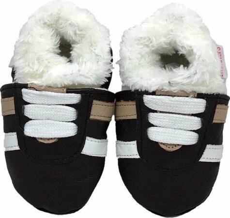 Afbeelding van Zwarte BabySteps slofjes Winter Glamour Eskimo small