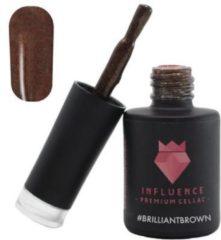 Influence - Premium Gellac Influence Gellac #BRILLIANTBROWN - UV / LED Gellak - Gel nagellak - Gel lak - Bruin / Glitter - 10 ml