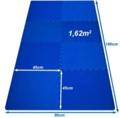 Blauwe Merkloos / Sans marque Vloermat, fitnessmat, puzzelmat, ondergrond, sportmat 180 x 90 cm - 8 stuks