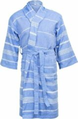 I2T - Hamam Collection I2T Hamam badjas zonder Capuchon - Blauw - S/M