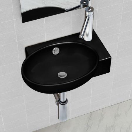 Immagine di Nero VidaXL Lavandino bagno rotondo in ceramica nera con foro di trabocco