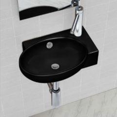 Nero VidaXL Lavandino bagno rotondo in ceramica nera con foro di trabocco