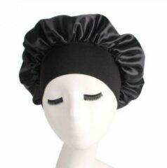 Bonnet Satijn - Polyester XL|Slaapmuts Satijn|Hoofddeksel|Unisex|Elastisch|Cabantis|Zwart