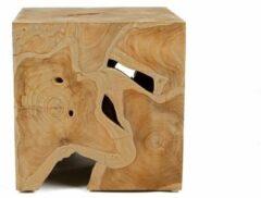 Bruine Houten Kruk Mulio 40cm x 40cm x 40cm - Teak hout - bijzettafeltje - Tall Men Standing