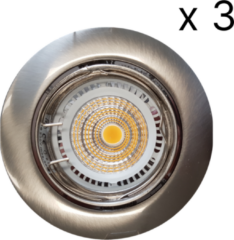 Roestvrijstalen Verlichtingsset Sanimex Njoy 3 LED Spots 8x7 cm RVS Look
