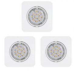EGLO Peneto - Inbouwspotje - LED - 87X87mm. - Wit - Set 3 Spots - Richtbaar