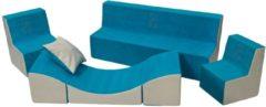 Go Go Momi Zachte Foam meubels borduurwerk set: 2xbank + Bank voor kinderen, comfortabel, ontspannen - blauw en beige