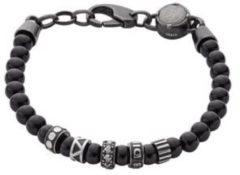 Diesel DX0961001 Armband beads zwart-zilverkleurig 18-19,5 cm