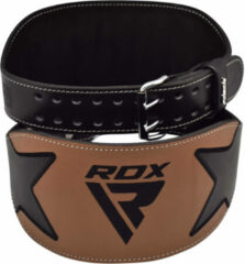 Bruine RDX Sports RDX Powerlifting Riem 15 cm - Extra Large - Zwart - Leer