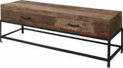 Naturelkleurige Duverger Recycled - TV-meubel - massief gerecycled hout - 2 lades - metalen frame