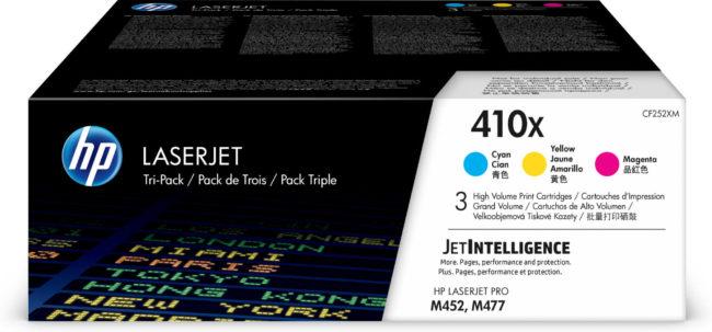Afbeelding van HP 410X originele high-capacity cyaan/magenta/gele LaserJet tonercartridges, 3-pack