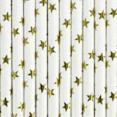Goudkleurige Merkloos / Sans marque Rietjes met gouden sterren 10 stuks