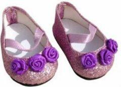 Mini Mommy Poppenschoentjes met glitters en bloemen voor babypop 35-45 cm