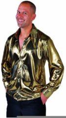 Gouden Retro 70's Volwassenenkostuum Disco hemd folie goud metalic maat XL