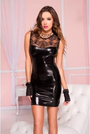 Afbeelding van Zwarte Music Legs - Wetlook Mini Jurkje Met Kanten Top - Zwart - Small - dames jurk, vrouwen kleding, pakje, kostuum, wet look, kinky, sexy, pikant, kant