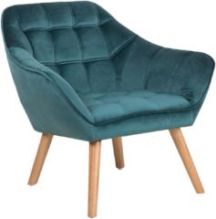 Turquoise Fauteuil fluweel blauwgroen KARIS