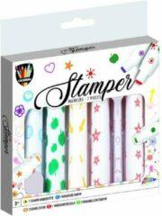 Paarse Grafix Stempelstiften | 7stuks | Knutselen voor kinderen | stamper markers