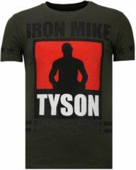 Groene Local Fanatic Iron Mike Tyson - Rhinestone T-shirt - Khaki - Maten: XL