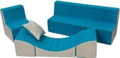 Go Go Momi Zacht foammeubelset: stoel + Bank + touringcar voor kinderen, kinderen, comfortabel, ontspannen, spelen - blauw en beige