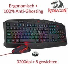 Zwarte REDRAGON S101-1 - 2in1 Pro Gaming combo pack (Toetsenbord, Muis) QWERTY