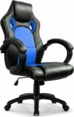 Game Hero Gaming Stoel MW2 - Bureaustoel - Vaste Armleuningen - Stoel Met Hoofdleuning - Game Stoel - Zwart/Blauw