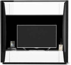 Ameubelment Tv-meubel Tiago 180 cm hoog in hoogglans zwart met wit