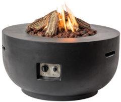 Zilveren Happy Cocooning Vuurtafel Bowl Rond - Ø91 cm - Zwart + Gasdrukregelaar