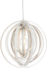 Trio Leuchten Runde Design-Pendelleuchte weiß Holz - Arrange