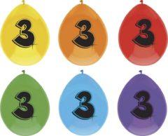 Haza Ballonnen 3 jaar - 6 stuks - assorti kleuren