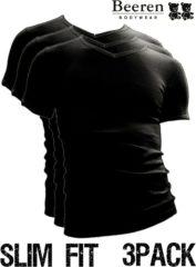 Zwarte Beeren | T-Shirt | V-Hals | MAAT M | 3-Pack | Zwart | Slim Fit
